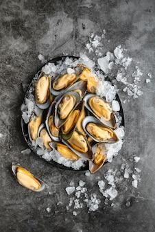 Bovenaanzicht heerlijk assortiment zeevruchten