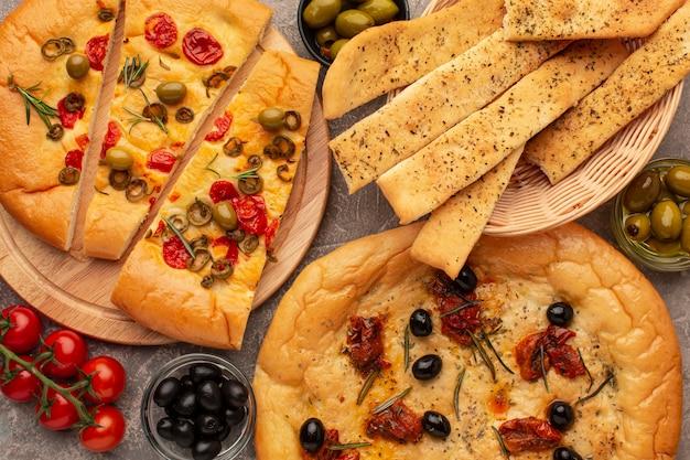 Bovenaanzicht heerlijk italiaans eten