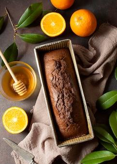 Bovenaanzicht heerlijk zoet brood winter dessert