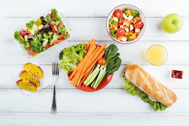Bovenaanzicht heerlijke lunchpauze