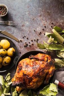 Bovenaanzicht heerlijke thanksgiving kalkoen