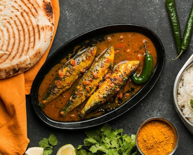 Bovenaanzicht heerlijke vismeel