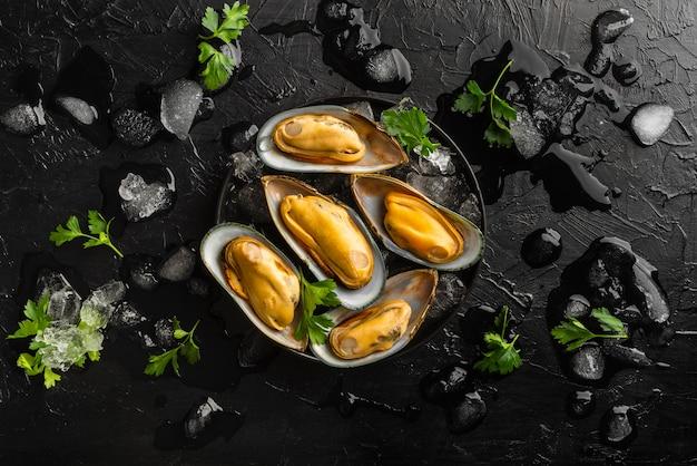 Bovenaanzicht heerlijke zeevruchten samenstelling