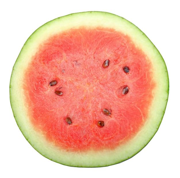 Bovenaanzicht helft van watermeloen geïsoleerd op wit