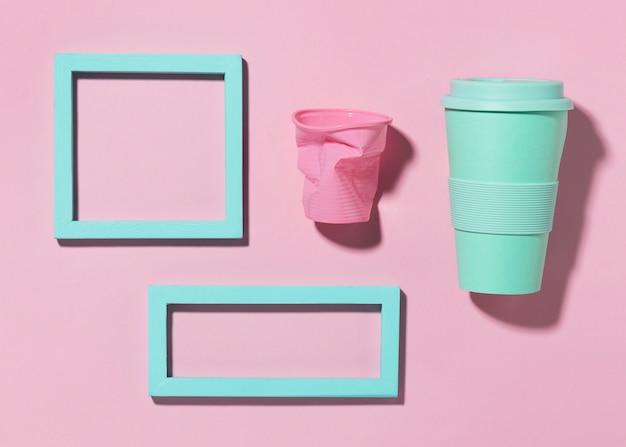 Bovenaanzicht herbruikbare beker met frames