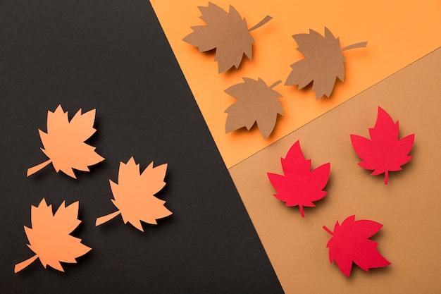 Bovenaanzicht herfstbladeren arrangement
