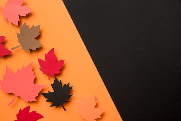 Bovenaanzicht herfstbladeren assortiment met kopie ruimte