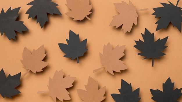Bovenaanzicht herfstbladeren assortiment
