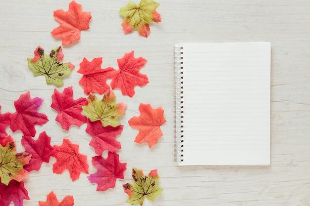 Bovenaanzicht herfstbladeren met een laptop