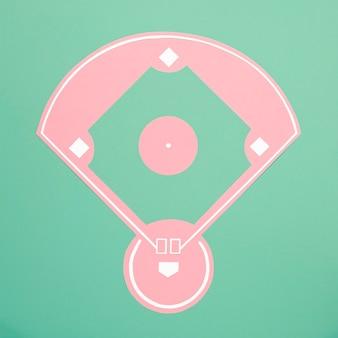 Bovenaanzicht honkbalveld minimaal stilleven