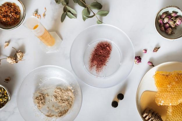 Bovenaanzicht ingrediënten arrangement