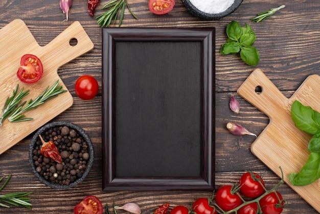 Bovenaanzicht ingrediënten voor het koken