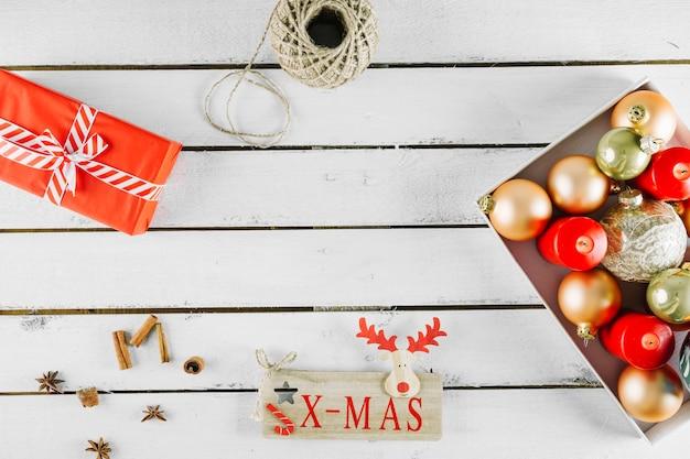 Bovenaanzicht kerst achtergrond