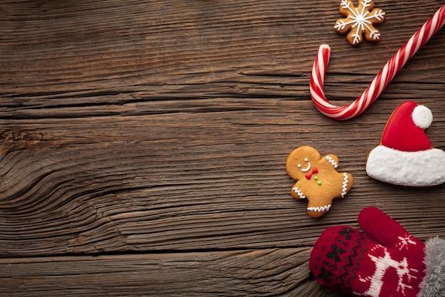 Bovenaanzicht kerst frame met kopie ruimte