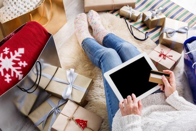 Bovenaanzicht kerst online winkelen