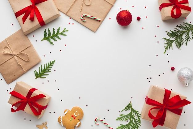 Bovenaanzicht kerstdecoratie met kopie ruimte