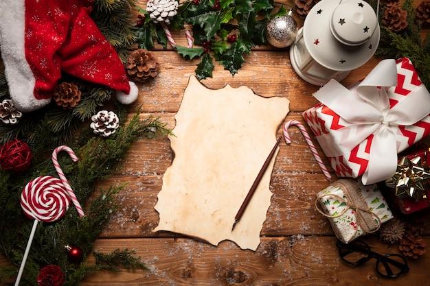 Bovenaanzicht kerstman lege lijst