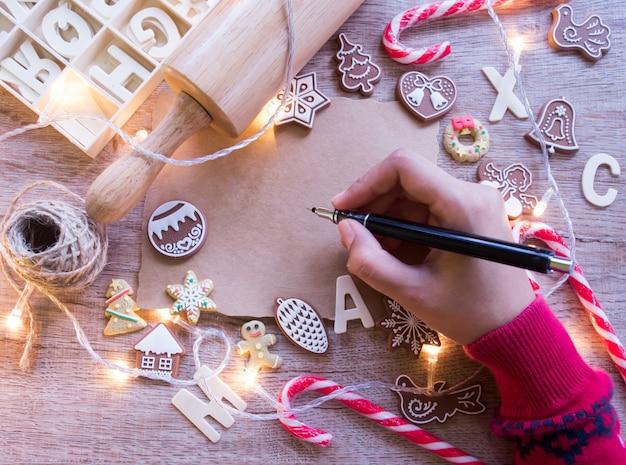 Bovenaanzicht, kerstmis en nieuwjaar tradities concept.