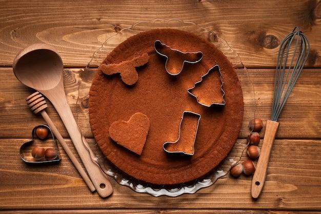 Bovenaanzicht kerstmis koken gebruiksvoorwerpen