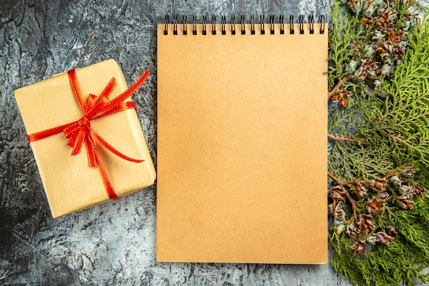 Bovenaanzicht klein geschenk gebonden met rood lint kladblok pijnboomtak op grijze achtergrond