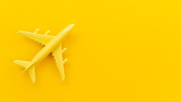 Bovenaanzicht kleine gele vliegtuig