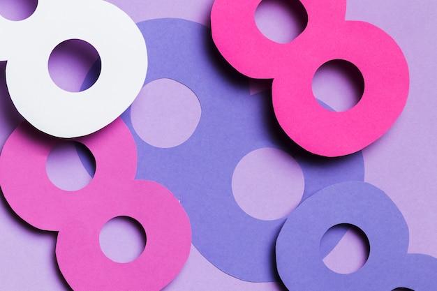 Bovenaanzicht kleurrijk 8 maart ontwerp