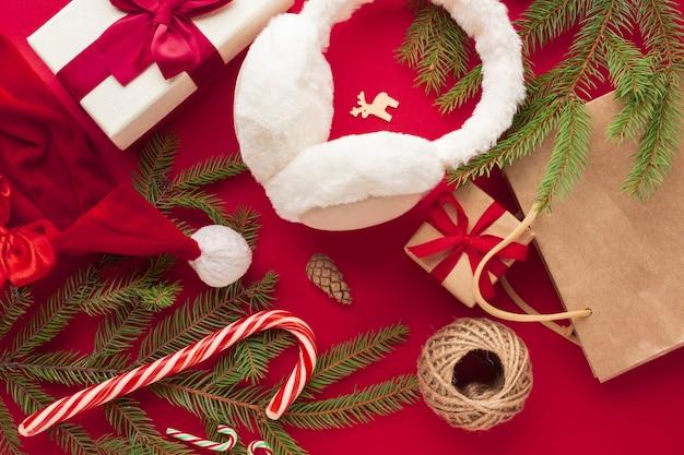 Bovenaanzicht kleurrijke kerst concept
