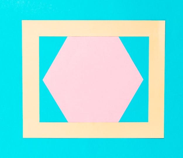 Bovenaanzicht kleurrijke papieren zeshoek