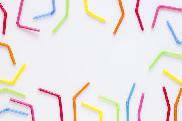 Bovenaanzicht kleurrijke stro collectie