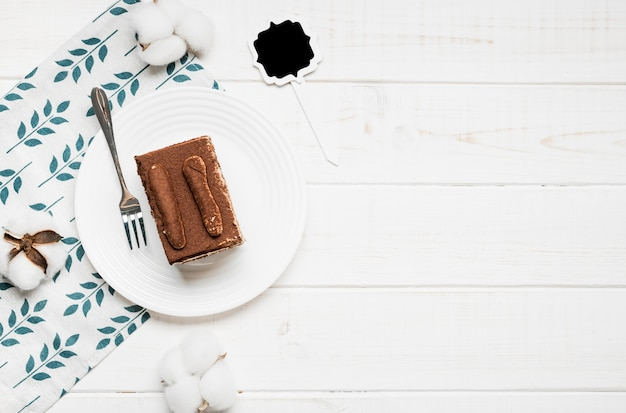 Bovenaanzicht koffie cake frame