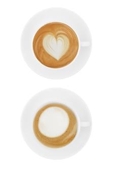 Bovenaanzicht koffiekopje collectie, koffiekopje assortiment met vorm teken collectie geïsoleerd op wit.