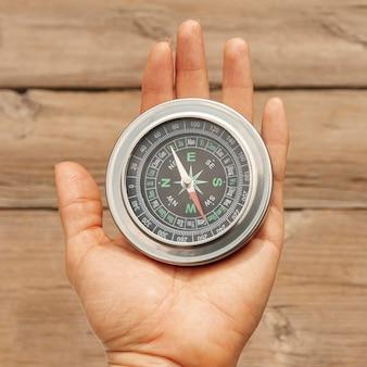 Bovenaanzicht kompas voor richting