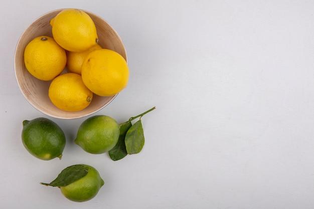 Bovenaanzicht kopie ruimte citroenen in kom met limoenen op witte achtergrond