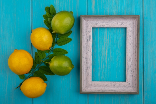 Bovenaanzicht kopie ruimte grijs frame met citroenen en limoenen op een tak van bladeren op een turkooizen achtergrond
