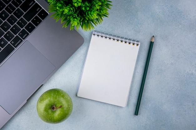Bovenaanzicht kopie ruimte groene appel met kladblok en notitieblok met potlood op grijze achtergrond