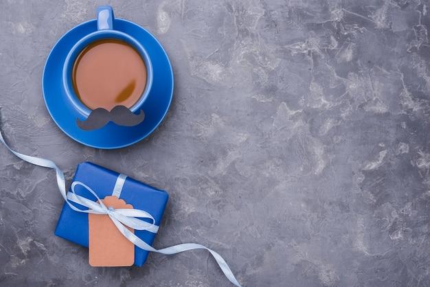 Bovenaanzicht kopie ruimte koffie voor vaderdag