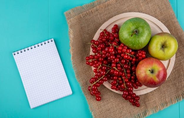 Bovenaanzicht kopie ruimte rode aalbes met appels op een bord en een notebook op een lichtblauwe achtergrond