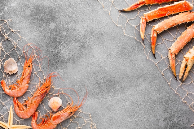 Bovenaanzicht kreeft en garnalen gevangen in visnet