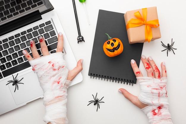 Bovenaanzicht kwaad halloween concept