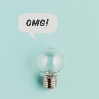 Bovenaanzicht lamp met praatjebel
