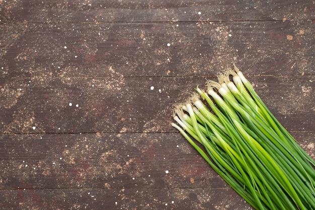 Bovenaanzicht lange groene ui op bruin, groen blad salade