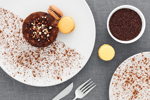 Bovenaanzicht lekker dessert op een bord