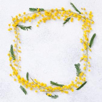Bovenaanzicht lente bloemen frame