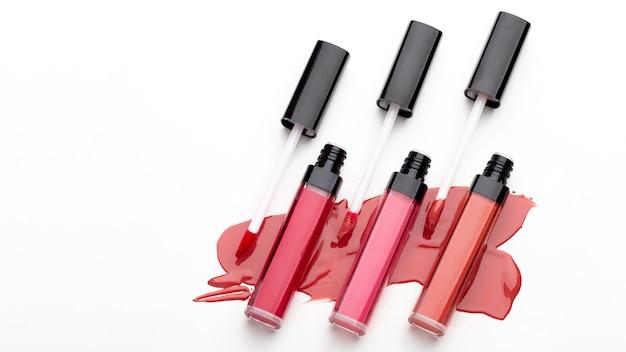Bovenaanzicht lipgloss arrangement