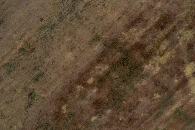 Bovenaanzicht luchtfoto van drone van dessert vallei landschap. prachtige natuur met kopie ruimte voor reclame.