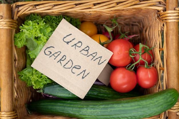 Bovenaanzicht mand met heerlijke groenten