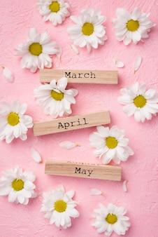 Bovenaanzicht margrieten met lente maanden tags