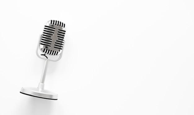 Bovenaanzicht microfoon met kopie-ruimte