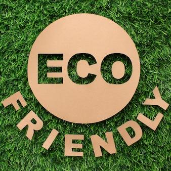 Bovenaanzicht milieuvriendelijk teken