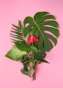 Bovenaanzicht minimale tropische bladeren samenstelling